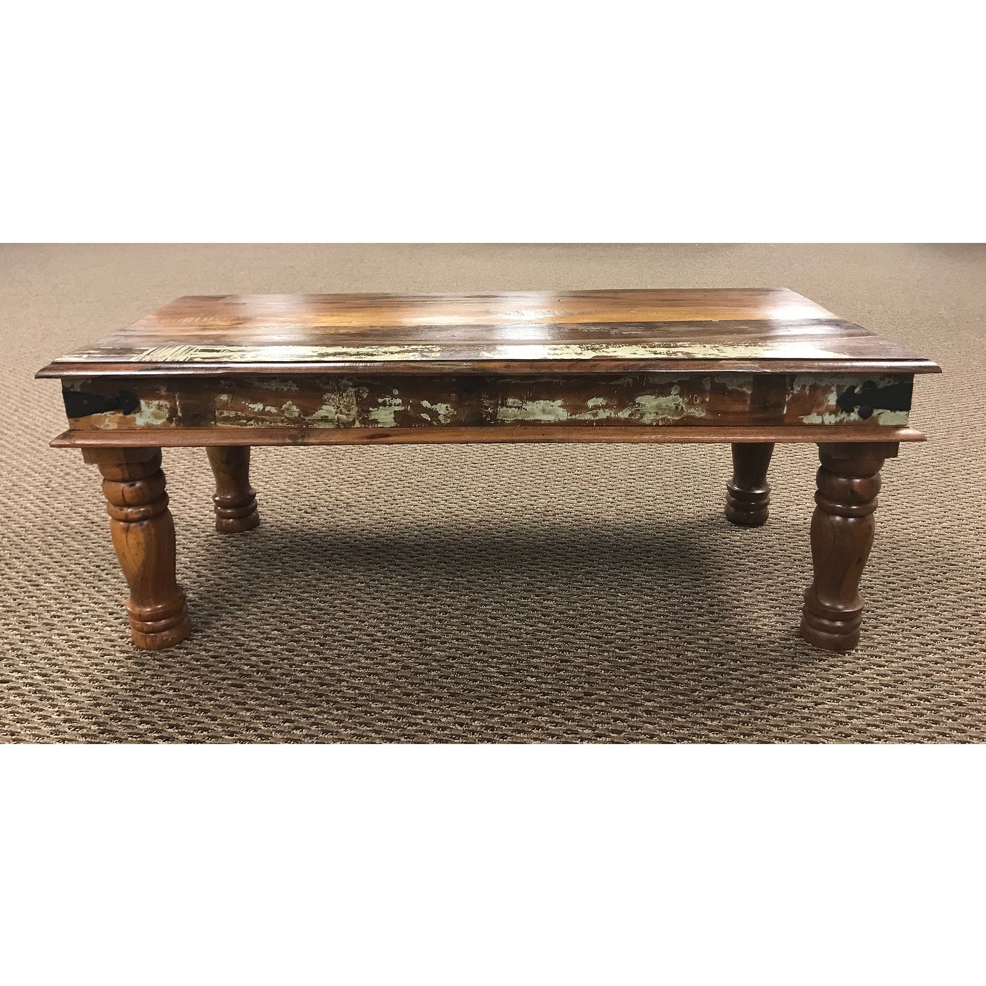 Rustic Vintage Lacquer Solid Wood Round Leg Coffee Table Bai S