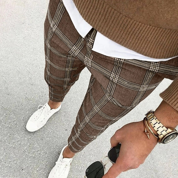 Men's Casual Street Plaid Cropped Pants
