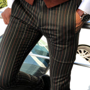 Colorful Striped Tight-Fitting Slacks