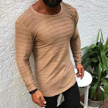 Simple Pure Colour Round Neck Long Sleeve T-Shirt