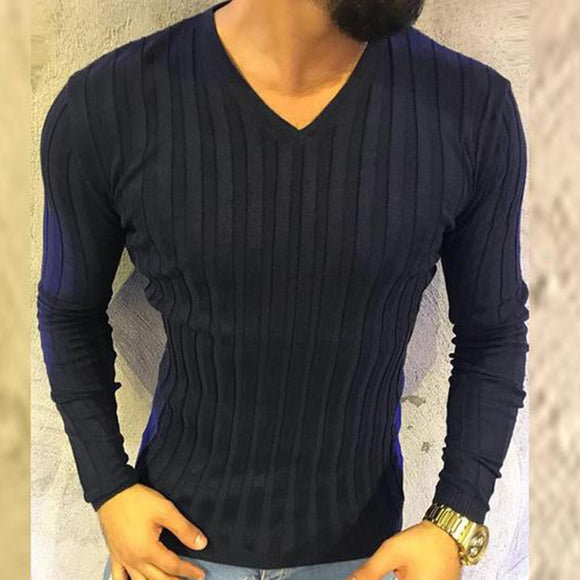 Casual Round Collar Plain Slim Knit Sweater