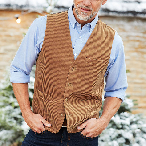 Retro Solid Color V-Neck Single-Row Button Vest