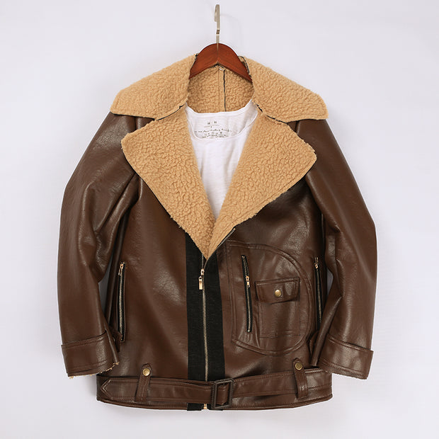 Lapel Velvet Long Sleeve Leather Jacket