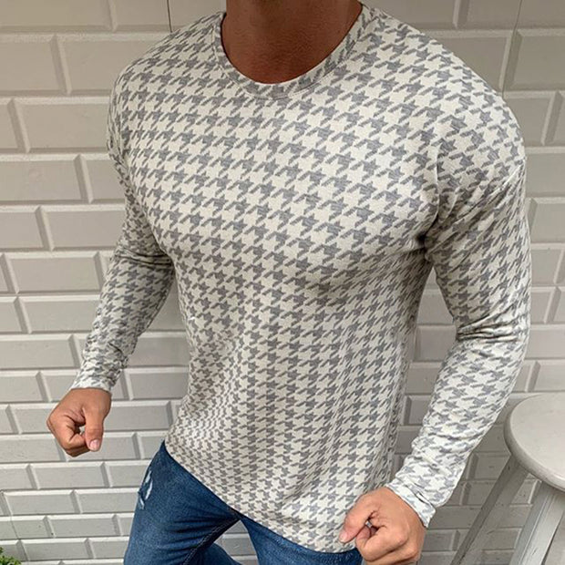 Men's Casual Print Round Neck Long Sleeve T-Shirt
