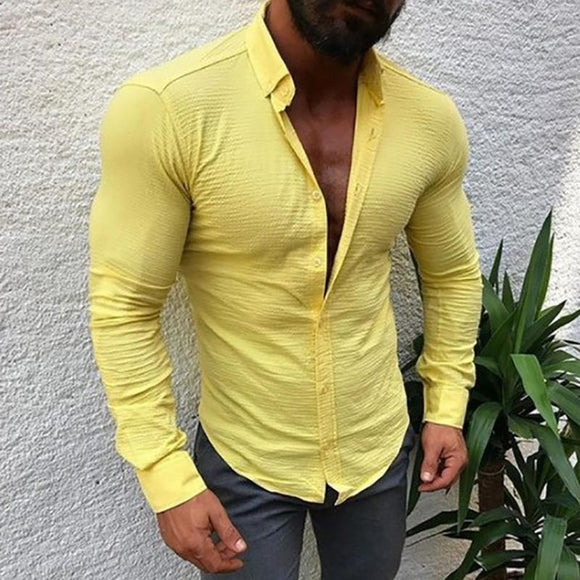 Fashion Mens Casual Solid Color Linen  Shirts