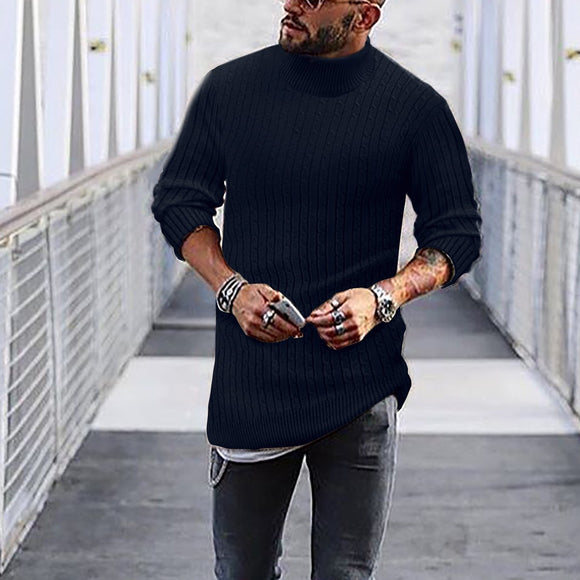 Fasion Stylish Mens Solid Color Sweater T-Shirt