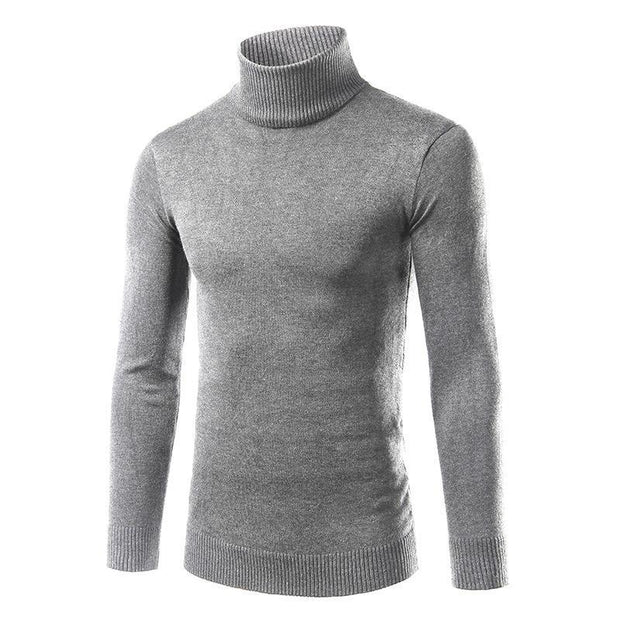 Solid Plain High Collar Sweater For Men
