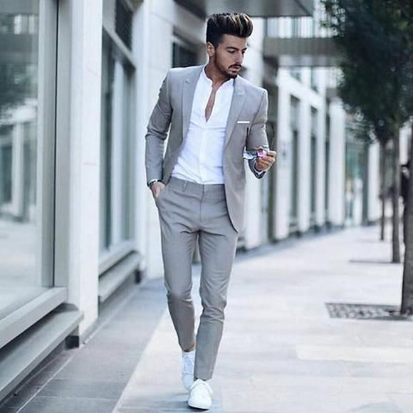 Men's Classic Solid Color Slim Suit Set