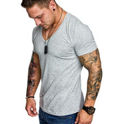 Solid color V-neck casual sports short-sleeved t-shirts
