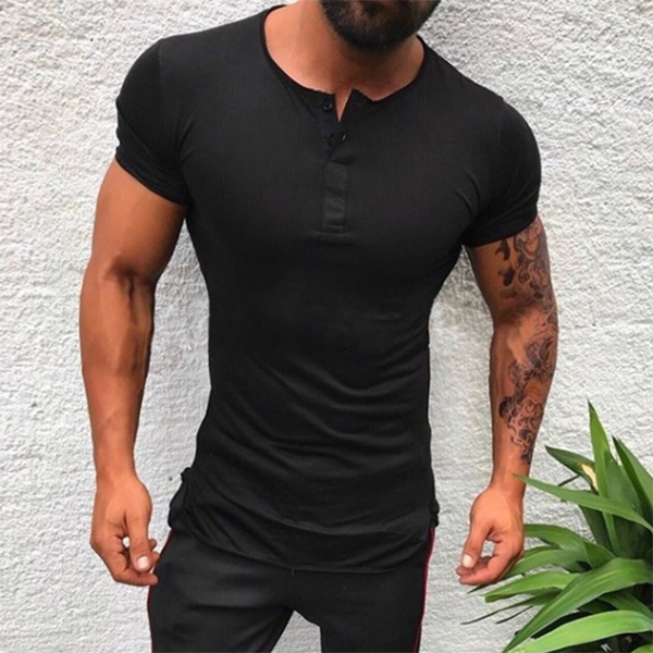 Men's Fashion Minimalist Solid Color Slim T-Shirt