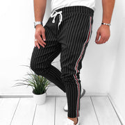 Men's Fashion Casual Stripe Belted Slim Fit Pants