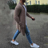 Fashion Men's Solid Color Pocket Cardigan Knit Sweaters