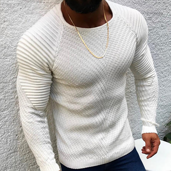 Casual Slim Fit Pure Colour Jacquard Round Neck Sweater