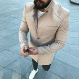 Casual Stand Collar Solid Color Coat