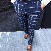 Fashion Men's High-Waisted Plaid Casual Pants