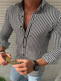 Fashion Stripe Long Sleeve Button Turndown Collar Shirt