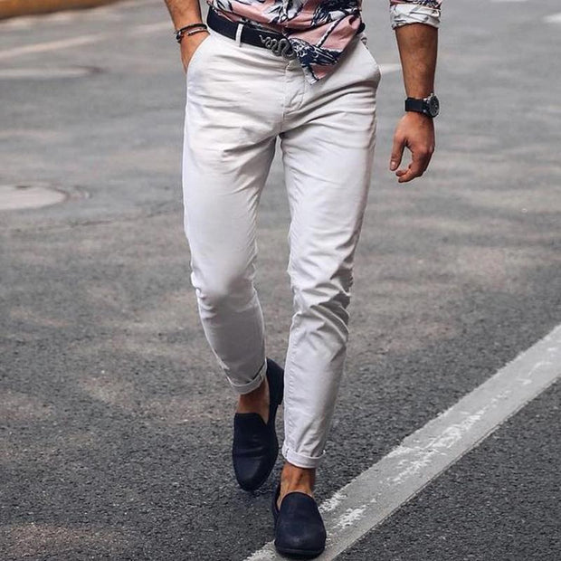 Men's Fashion Casual Straight Trousers White Jeans Stretch Slim Pants