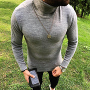 Men Casual High Neck Solid Color Sweater