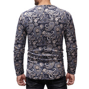 Casual Slim Petal Print Round Neck Long Sleeve T-Shirt