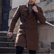 Men's Classic Solid Double-Breasted Button Down Coat