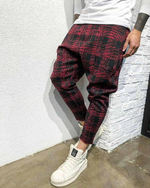 Baggy casual tartan men's trousers