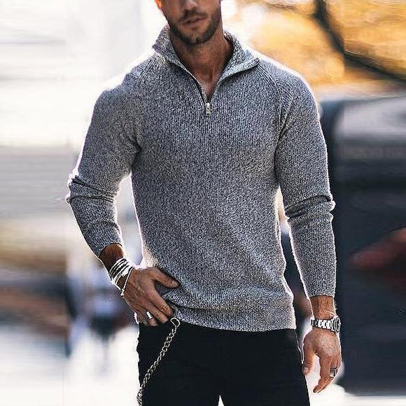 Solid Color Boss Zipper Sweater