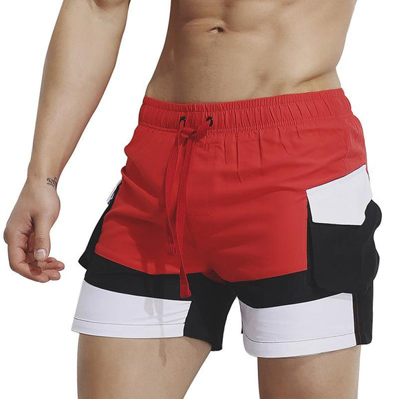 Men Fashion Contrast Color Casual Shorts
