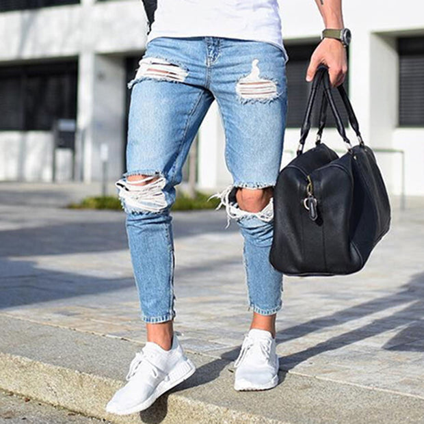 Men's Skinny Jeans Light-Colored Hole Jeans