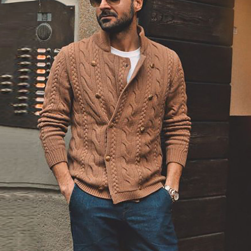 Men's Stylish Collar Double-Breasted Knit Cardigan