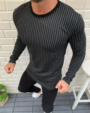 Men's Fashion Casual Striped Round Neck Long Sleeve T-Shirt