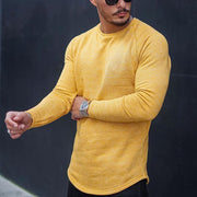 Casual Men's Yellow Round Neck Shirt