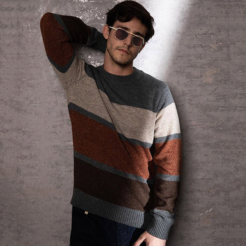 Casual Colouring Striped Loose Mens Sweater