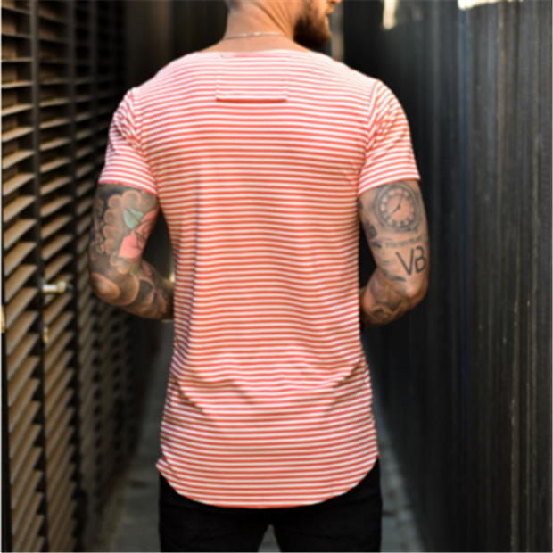 Men's Casual Round Neck Slim Stripe T-Shirt