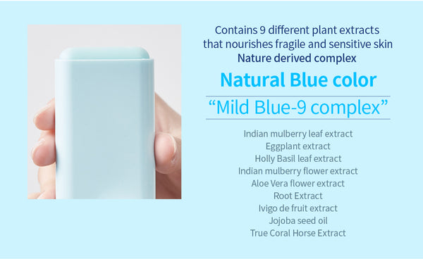 Contains 9 different plant extracts and the colour blue is naturally derived