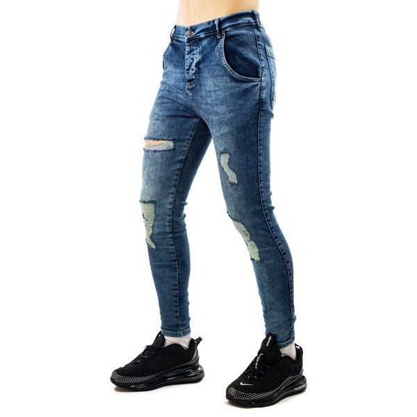 SikSilk Core Distressed Skinny Denim Jeans 19354midwash-