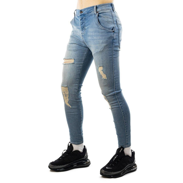 SikSilk Core Distressed Skinny Denim Jeans 19353lightwash-
