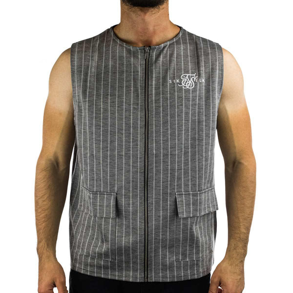 SikSilk Smart Wear Vest Zip T-Shirt SS-17368-greypinstripe-