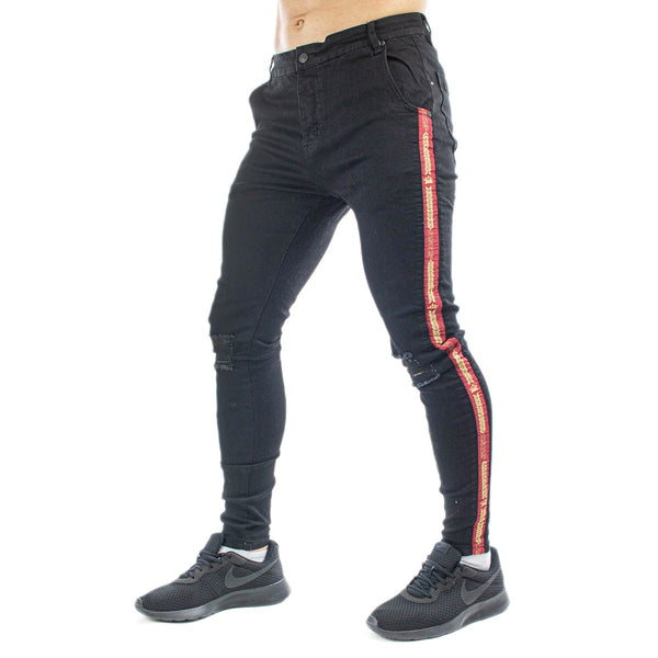 SikSilk Burst Knee Denim Hose SS-16935-