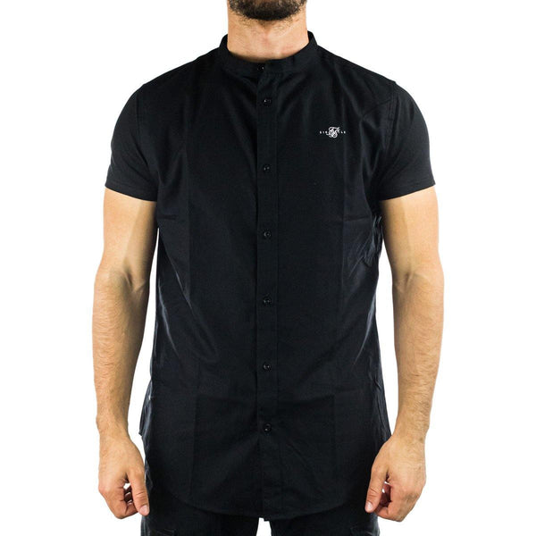 SikSilk Core Grandad Collar Shirt Hemd SS-17411-black-