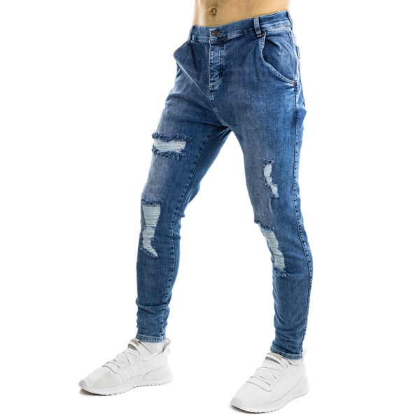 SikSilk Distressed Skinny Jeans SS-14006MidBlue-