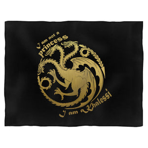 I Am Not A Princess I Am Khalessi Gold Logo Blanket