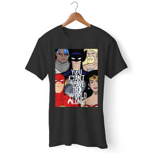 Justice League You Can't Save The World Alone Man's T-Shirt