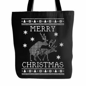 Merry Christmas Santa Deer Tote Bag