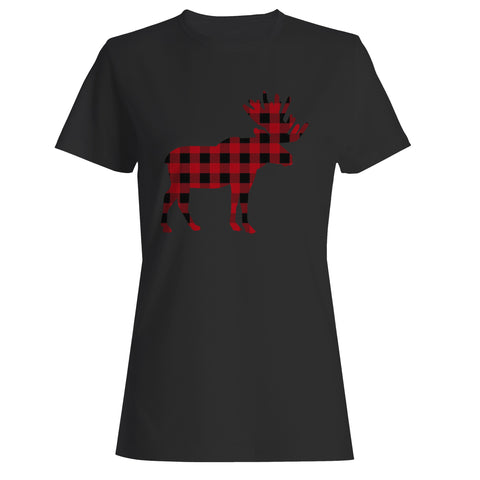 Plaid Moose Woman's T-Shirt