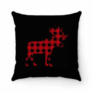 Plaid Moose Pillow Case Cover