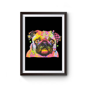 Pug Dog Painting Art Poster