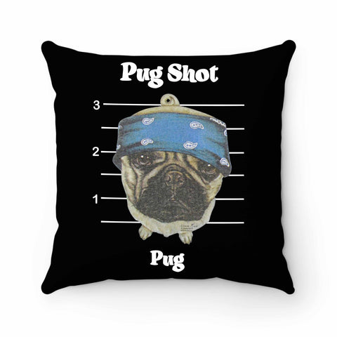 Pug Shot Pug Dog Pillow Case Cover