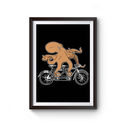 Riding Bike Octopus Poster