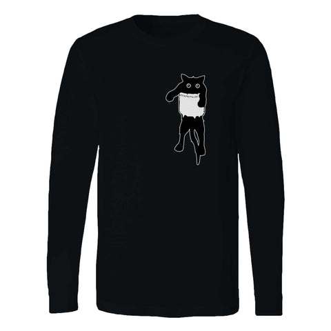 Scared Cat In Poket Long Sleeve T-Shirt