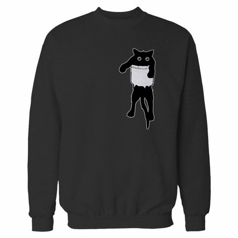 Scared Cat In Poket Sweatshirt